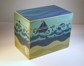 Recipe Box for 4x6 cards - Sailboat and Seagull Beach Themed - Custom Wooden Recipe Box or Address File Box or Keepsake Box