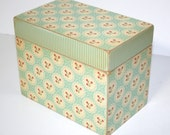 Large Recipe Box Custom Aqua and Red Floral Stripe Vintage Style Handmade 4x6 Wooden Recipe Card Address File Box