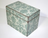Recipe Box - Aqua and Gray Damask Handmade 4x6 Wooden Recipe Box or Wedding Guest Book Box
