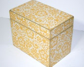 Recipe Box - Yellow and White Handmade 4x6 Wooden Recipe Box or Wedding Guest Book Box