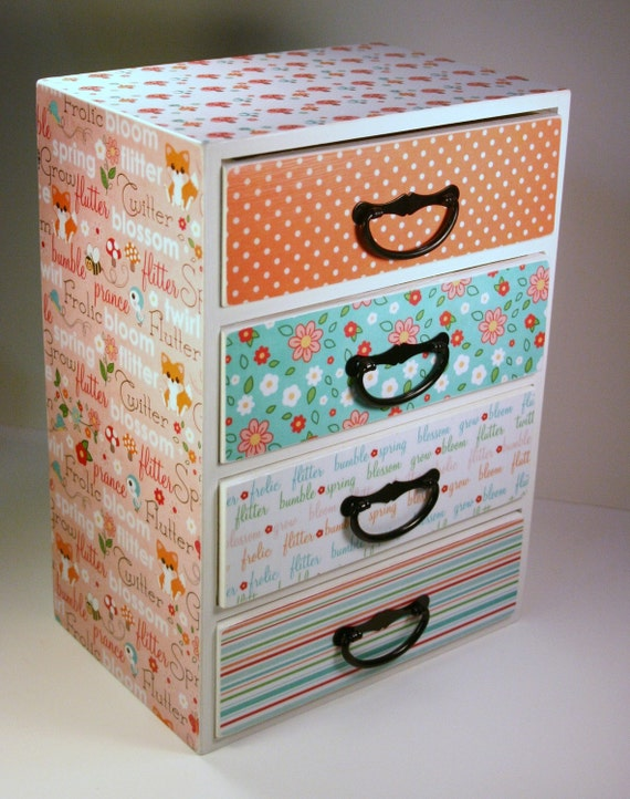 Trinket Box Jewelry Box Woodland Creature Spring Time Custom Wooden Personalized Jewelery Trinket Box Chest Mini Dresser