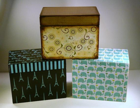 Recipe Box 4x6 4 x 6 Custom - You Design It Handmade Personalized Wooden Recipe Card Address File Box
