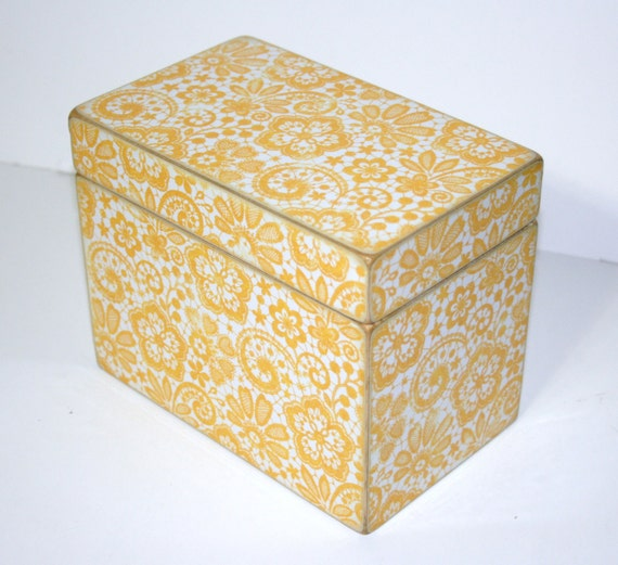 Recipe Box - Yellow and White Handmade 4x6 Wooden Recipe Box or Wedding Guest Book Box