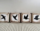 "Black Bird Flight painting- Set of four 4""x4"" solid distressed wood beveled plaques for wall display"