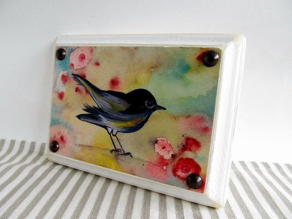 """Gumdrop Bird """"Launch"""" shabby chic watercolor bird painting print mounted on a 5""""x7"""" distressed wood plaque"""