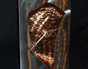 "Copper Mantle Clock Abstract Sculpture by Dennis Boyd (DB Designs - Creating Metal ""works of art"") Mantle Clock 3"