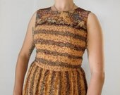 vintage brown floral dress - extra small
