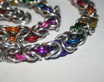 Rainbow Byzantine Chainmaille Necklace 16 inches