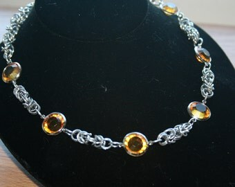 Delicate Byzantine Chainmaille Necklace with Amber Hued Accents