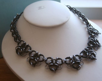 Black and Gunmetal Gothic Lace Chainmaille Necklace
