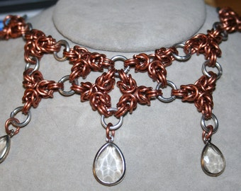 Tri-Byzantine Chainmaille Necklace in Copper (great for arthritis)