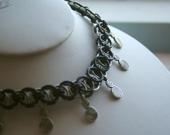 Black and Silvertone Helm Chain Chainmaille Choker Necklace with Swirl Accents