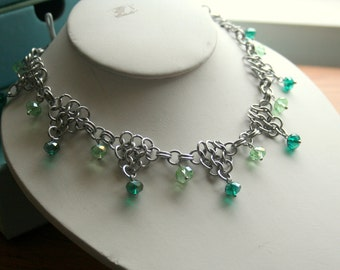 Breeze Through the Forest Chainmaille Necklace with Crystal Accents