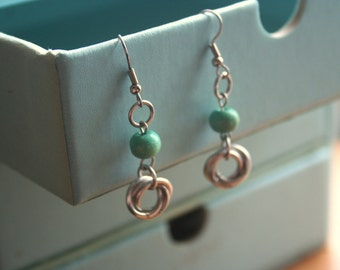 Mobius Ball or Love Knot Earrings with Turquoise Wood Accents