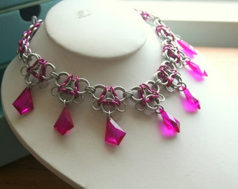 Silvertone and Hot Pink Gothic Lace Chainmaille Necklace With Glittering Accents