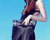 LENA QUIST Black Leather and Human Hair Fringe Oversize Clutch Bag - SALE
