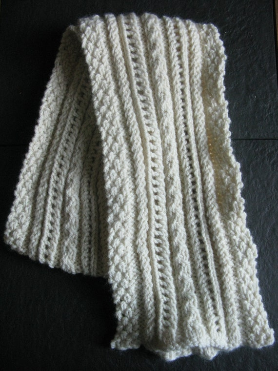 PATTERN Lace and Cable Scarf Pdf Knitting Pattern / Easy Cabled Scarf Pattern...