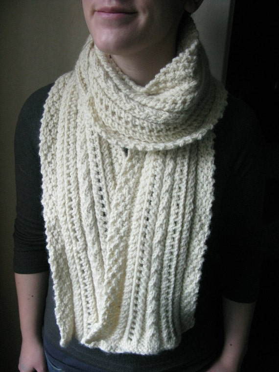 PATTERN Lace and Cable Scarf Pdf Knitting Pattern / Easy ...