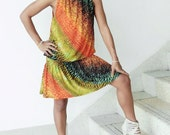 Sun Dress or Tops Rainbow  Animal Print  - Unique Boho Fashion -1 Tie back Print - Great Casual Wear - Fun In The Sun
