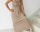 Spring Sale Long Chic Evening Maxi Dress - Unique Neutral or Tan Color - Fantastic Evening Attire
