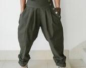 Ladies EMO 3/4 Length Pants,Ruffle Leg . Organic Cotton Drab Green .