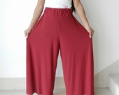 Ladies Casual Comfortable Pant,Lycra Deep Red Color.