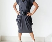 Ladies Pleated Sexy Dress in Grey,Unique Styling Organic Cotton Jersey Knit