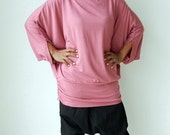 Ladies Blouse in Soft Pink Unique Styling Poncho, Jersey Spandex.