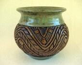 Pottery - Hand Carved Southwestern Vase - Sage & Brown - 1276