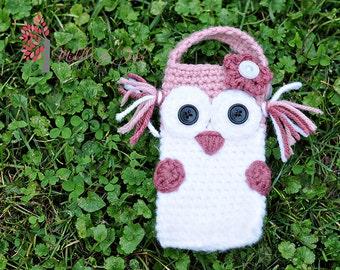 PDF Pattern, Owl iPhone 4 Cozy, Crochet, Ewe N Me Boutique