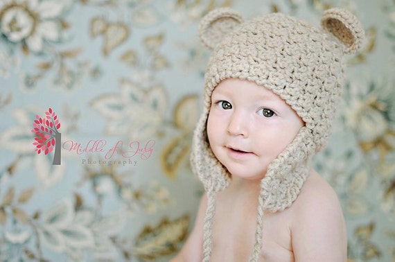 Buddy Bear Ear Flap Hat, Crochet, Acrylic, 1 to 3 years, Ewe 'N' Me Boutique
