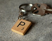 Monogram Keychain made with Scrabble tile -- a great Christmas stocking stuffer