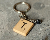 Monogram Keychain made with Scrabble tile and beaded charm -- a great Christmas stocking stuffer