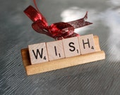 WISH Christmas Ornament - Handmade Christmas Tree Ornament made with Scrabble Tiles for all Music Lovers