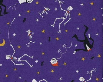 CLEARANCE!  Eerie Alley 2, Robert Kaufman, Halloween, Skeleton, 1/2 Yard