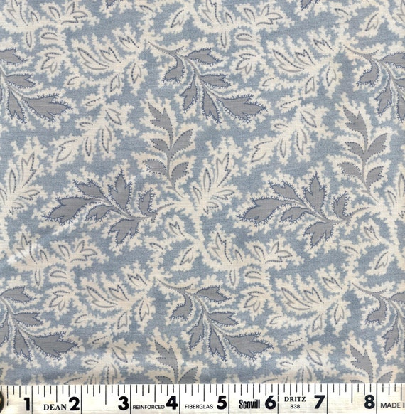 End of bolt multiflora blends fabric blue