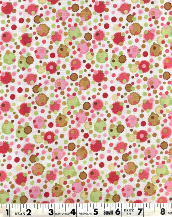 End of Bolt, Woodland Bloom, Moda Fabric, White, Pink, Green, and Brown Polka Dots