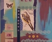 Grey Wagtail Original Bird Collage