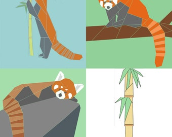Set of 3 Red Panda paper-piecing quilt patterns, PDF