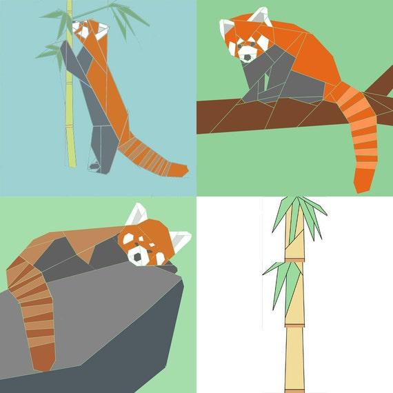 Set of 3 Red Panda paper-piecing quilt patterns, PDF