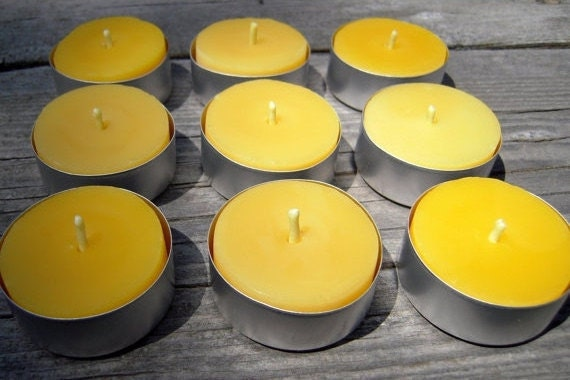 beeswax tealights, set of 9 in metal or clear cups