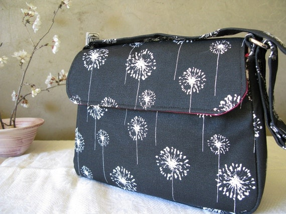 Medium Purse in Black and White and Hot Pink Dandelions