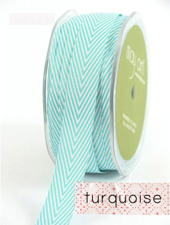 chevron twill tape, turquoise, 2 yards