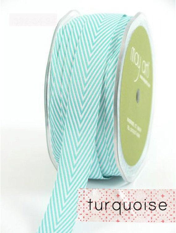 chevron twill tape, turquoise, 2 yards