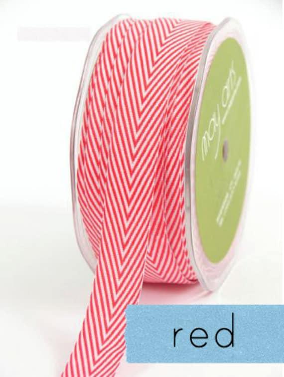 chevron twill tape, red, 2 yards