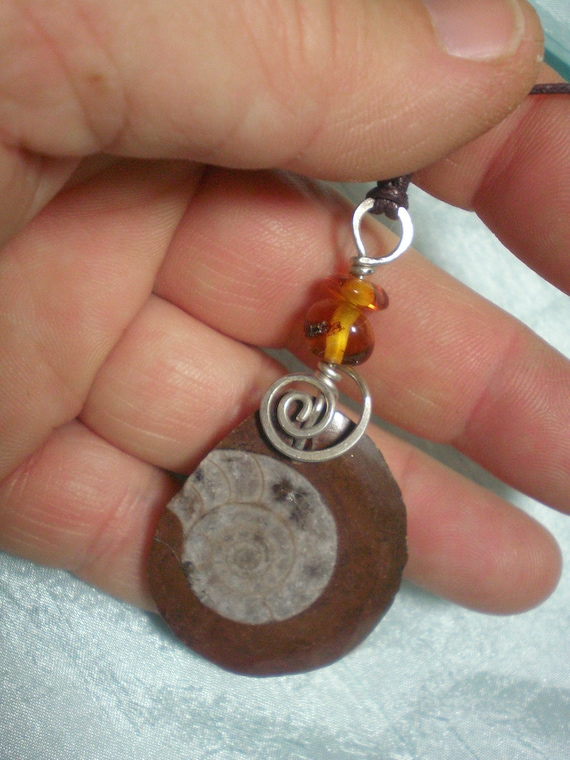 Amber and Ammonite Pendent, Necklace with White Metal and Earthtones, Protection Ammulet, D