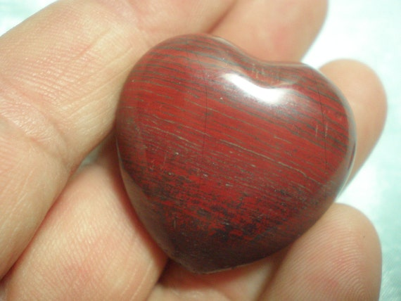 30mm Red Tiger Iron Gemstone Heart, Stone Pocket Heart, Problem Solving, Balance, Protection