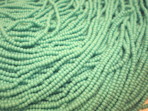 Opaque Turquoise Seed Beads, 11/0 Czech Republic Seed Bead Destash, One Full Hank Glass Seed Beads