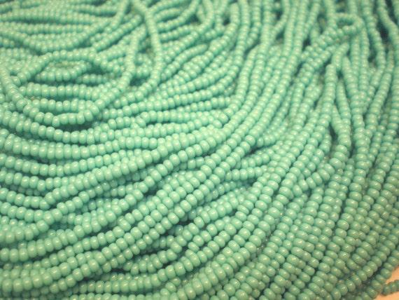 Opaque Turquoise Seed Beads, 11/0 Czech Republic Seed Bead Destash, One Full Hank Glass Seed Beads