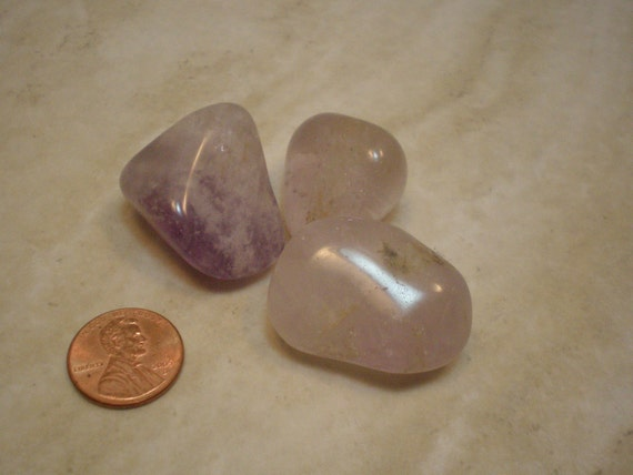 Larger Sized Amethyst Gemstones, 3 Tumbled Pocket Stones, Protection, Clairvoyance, Right Thinking